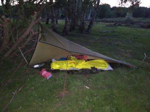 Tarp and sleeping bag